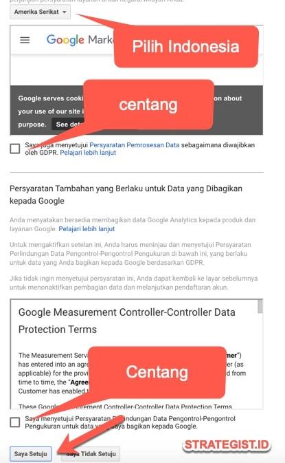 centang google analytic