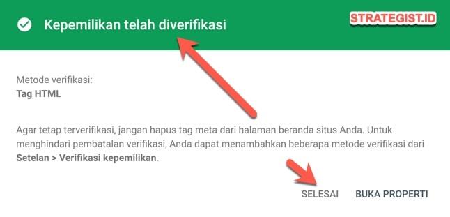 verifikasi blog di webmaster sukses