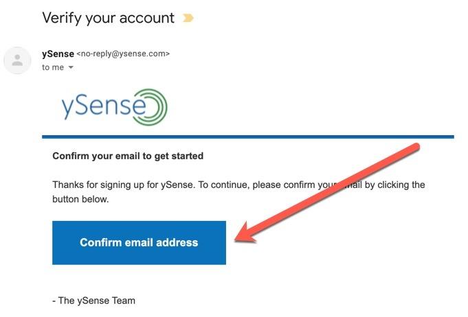 konfirmasi email ysense