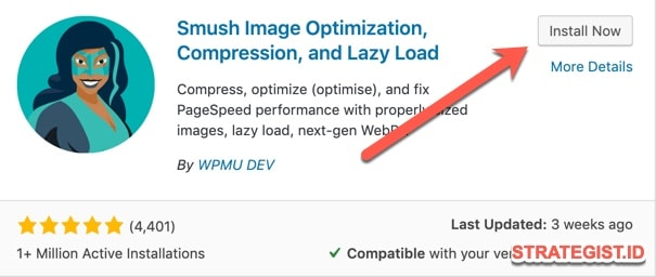 Instal smush plugin