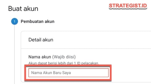 isi nama akun google analytic
