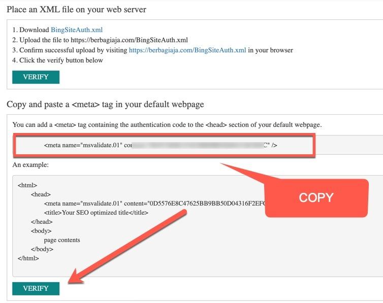verifikasi bing webmaster