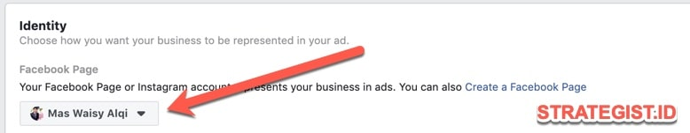pilih page untuk facebook ads