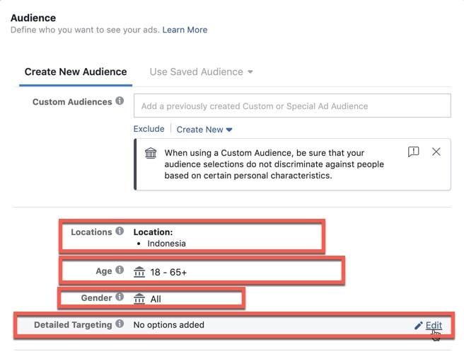 setting target iklan facebook